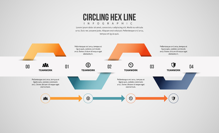 circling: Vector illustration of circling hex line infographic design element.