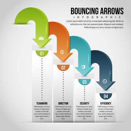 textspace: Creative Vector illustration of bouncing arrow infographic design element.