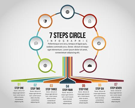 Vector illustratie van zeven stappen cirkel infographic ontwerpelement. Stock Illustratie