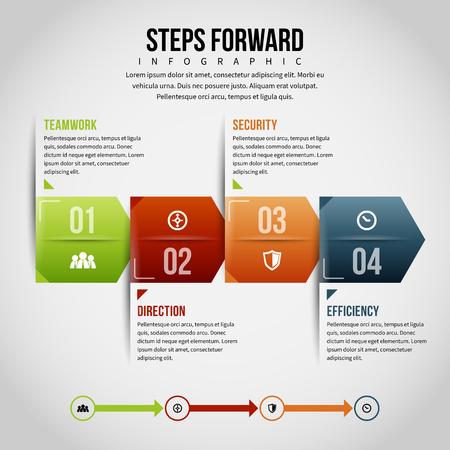 textspace: Vector illustration of steps forward infographic design element. Illustration