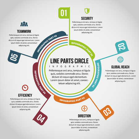 Vector illustration of line parts circle infographic design element. Illustration