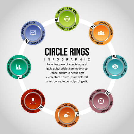 textspace: Vector Illustration of circle rings infographic design element. Illustration