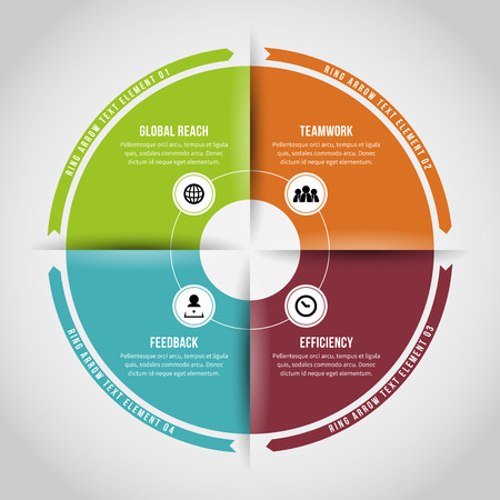 textspace: Vector Illustration of four ring loops infographic design element.