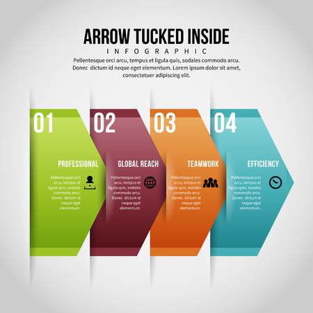 Vector illustration of arrow tucked inside infographic design element.