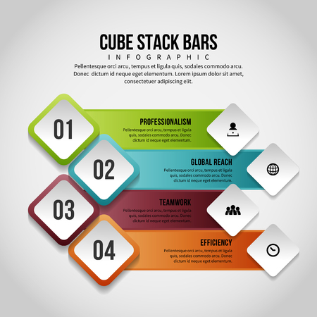 textspace: Vector illustration of cube stack bars infographic design element. Illustration
