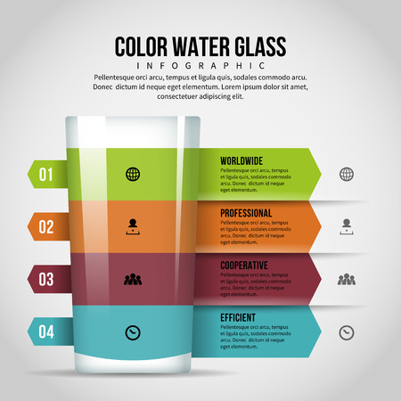 Vector illustration of color water glass infographic design element. Иллюстрация