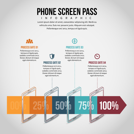 smartphone business: Vector illustration of phone screen pass infographic design element.