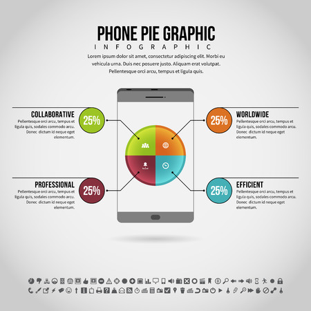 textspace: Vector illustration of phone pie graphic infographic design element.