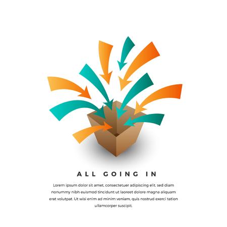 incorporate: Vector conceptual illustration of several arrows getting into the box.