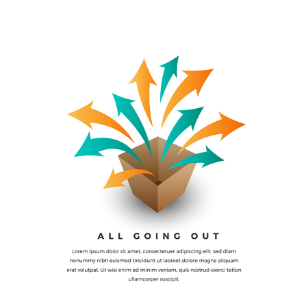 Vector conceptual illustration of several arrows getting outside the box. Illustration