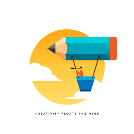 Vector conceptual illustration of man looking through a telescope riding a pencil-shaped air balloon.
