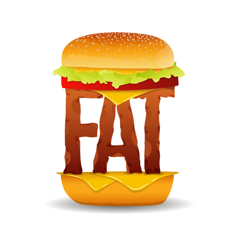 Vector illustration of a burger with the word FAT replacing the beef.