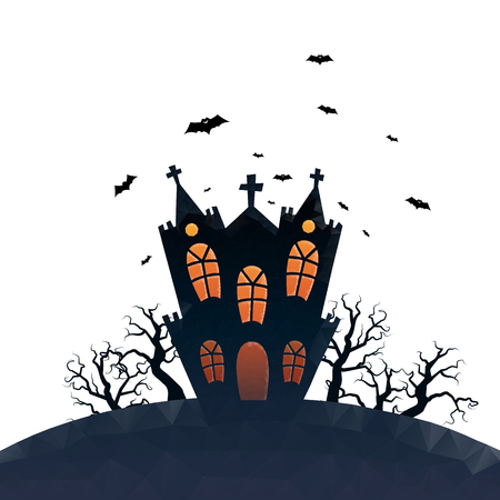 Vector illustration of low-polygonal haunted house with white isolated background.