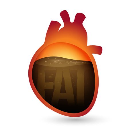 Vector illustration of liquid fat inside a human heart with