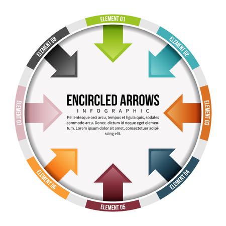 Vector illustration of encircled arrows infographic design elements.