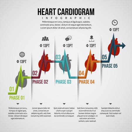 textspace: Vector illustration of heart cardiogram infographic design element. Illustration