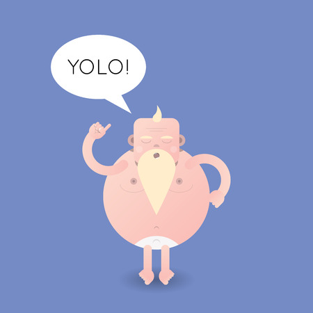 Vector cartoon illustration of a half-nude old caucasion man with talk bubble and text yolo.