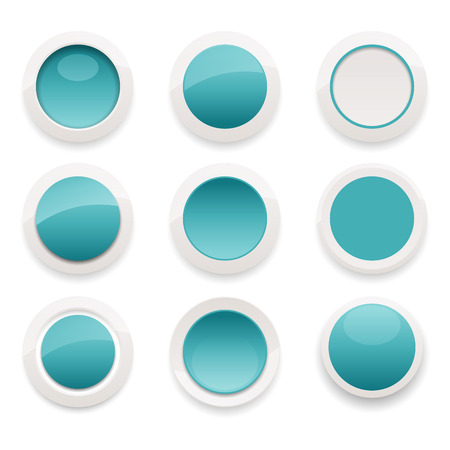Vector illustration of glossy ceramic button design elements