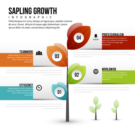 A Vector illustration of sapling growth infographic design element. Иллюстрация