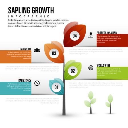A Vector illustration of sapling growth infographic design element. 矢量图像