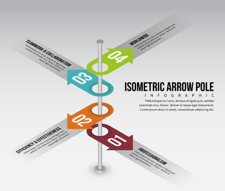 A Vector illustration of isometric arrow pole infographic design element. Illustration
