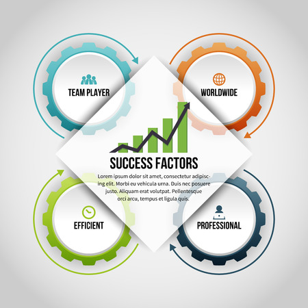 Vector illustration of gear success factors infographic design element.