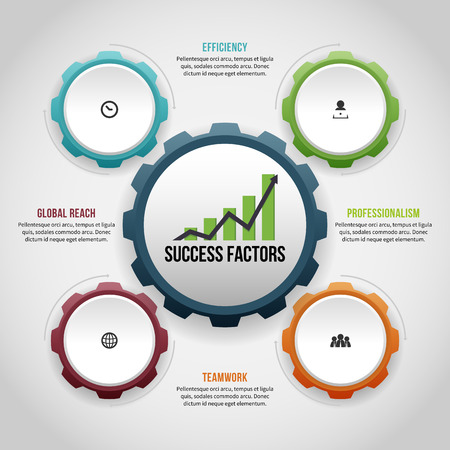 Vector illustration of four gear factors infographic.