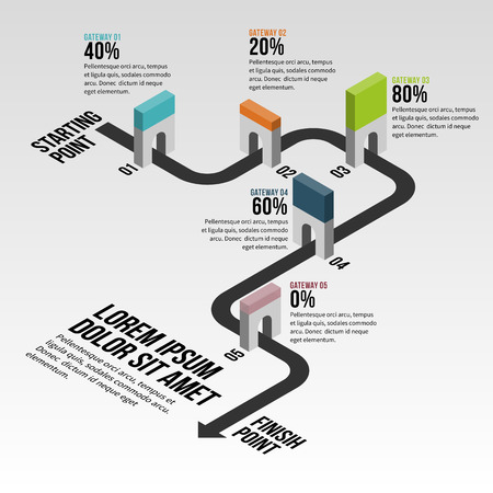 Vector illustration of gateway block progress infographic design element. Иллюстрация