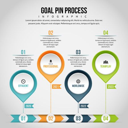 textspace: Vector illustration of goal pin process infographic design element. Illustration
