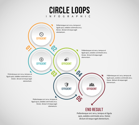 textspace: Illustration of circle loops infographic design element.