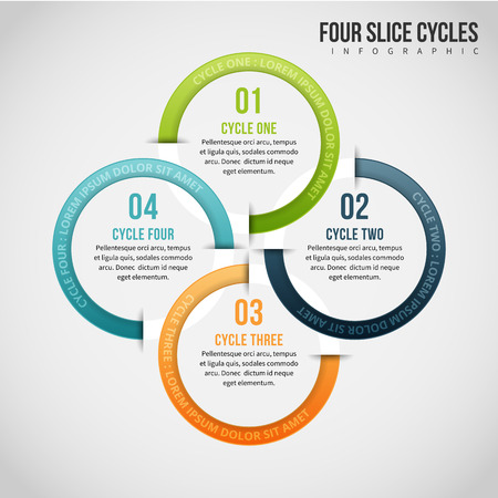 Vector illustration of four slice cycles infographic design element. Illustration