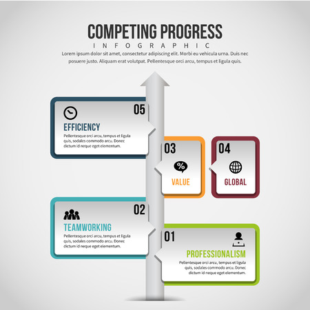 Vector illustration of Competing Progress Infographic design element. Ilustração