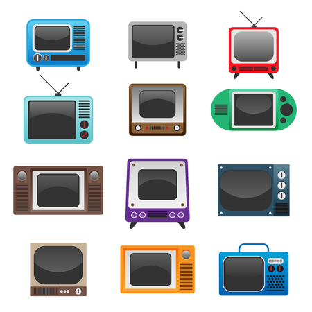 Vector illustration of retro vintage television set.