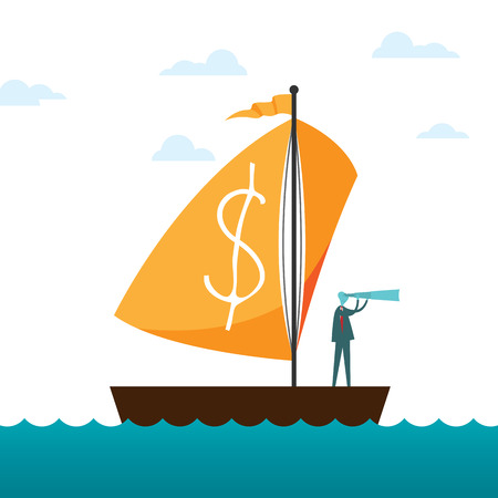 Vector illustration of a man with monoscope riding a sailboat with dollar sign on the sail.  イラスト・ベクター素材