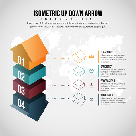 Vector illustration of Isometric Up Down Arrow Infographic design element.