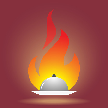 Dish pan in front of fire vector illustration.