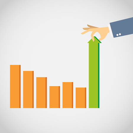 Vector illustration of hand pulling out a declining graphic bar.