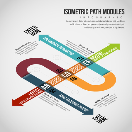 Vector illustration of Isometric Path Modules Infographic design element. Illustration