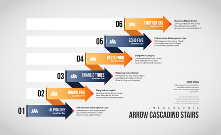 Vector illustration of Arrow Cascading Stairs Infographic design element.
