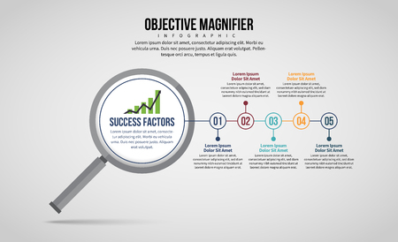 Vector illustration of Objective Magnifier Infographic design element.