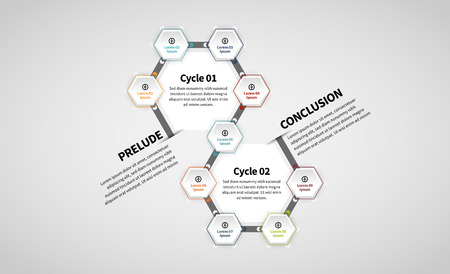 Vector illustration of Twin Hexagon Lineup Infographic design element.