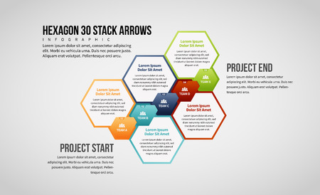 Vector illustration of Hexagon 30 Stack Arrows Infographic design element. Ilustrace