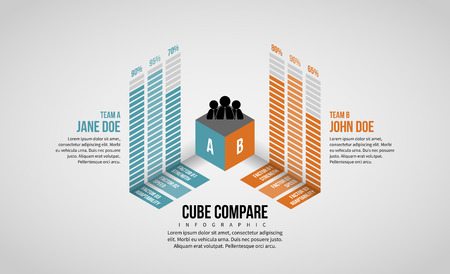 Vector illustration of Isometric Cube Compare Infographic design element. Ilustrace