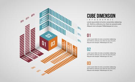 Vector illustration of Isometric Cube Dimension Infographic design element. Stock Illustratie