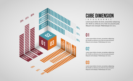 Vector illustration of Isometric Cube Dimension Infographic design element. Illusztráció