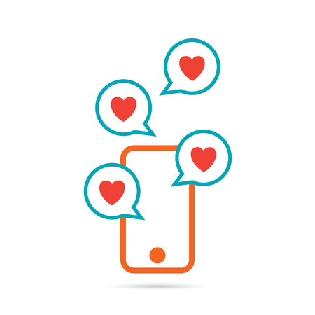 Vector abstract illustration of heart signs on talk bubbles out from a smartphone. Çizim