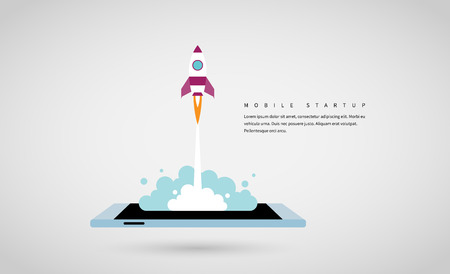 Vector illustration of a rocket launches from a mobile phone screen.