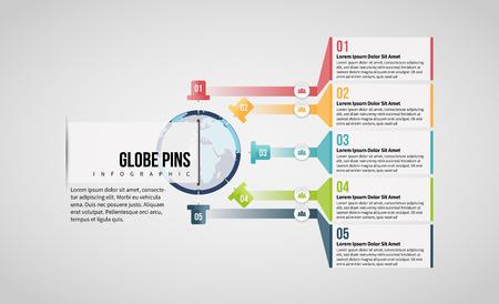Vector illustration of Globe Pins Infographic design element. Stock Illustratie