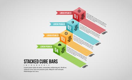 Ilustración de vector de elemento de diseño de infografía de barras de cubo apiladas.