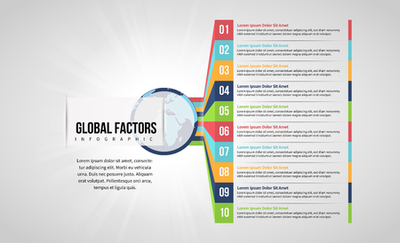 Vector illustration of Global Factors Infographic design element.